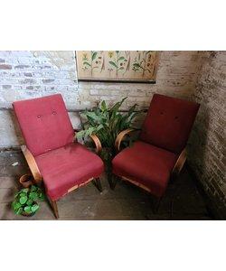 Set vintage fauteuils - Rood No. 6