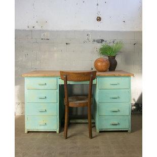 Houten bureau - Groen/blauw