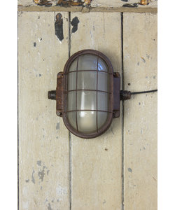 Industriële wandlamp 'Oválny' met Kooi
