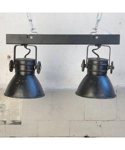 Hanglamp 'Double hood' - Black metal