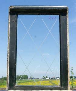 71,6 x 48,9 cm - Glas in lood raam No. 474