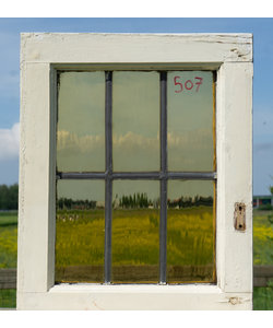 46,5 x 37,5 cm - Glas in lood raam No. 507