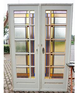 214 x 73 cm - Set glas in lood deuren 'Verschillende kleuren'