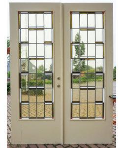 223 x 81 cm - Set glas in lood deuren 'Geometrisch'