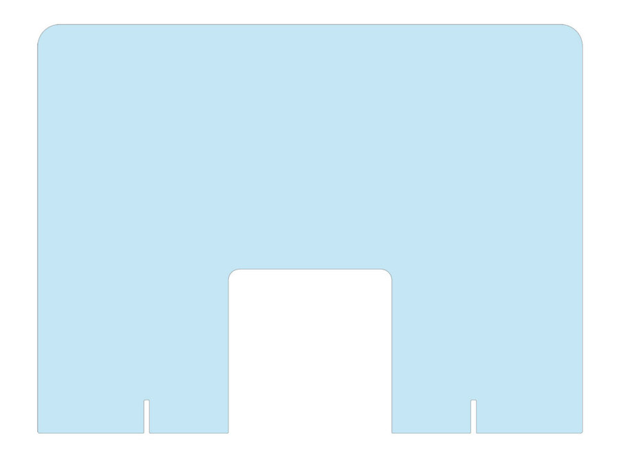 Plexiglas scherm met extra grote uitsparing (manicure) staand- DIRECT LEVERBAAR