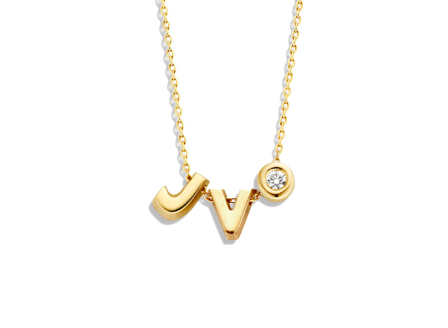 Capital Necklace 1 Diamond & 2 Capitals