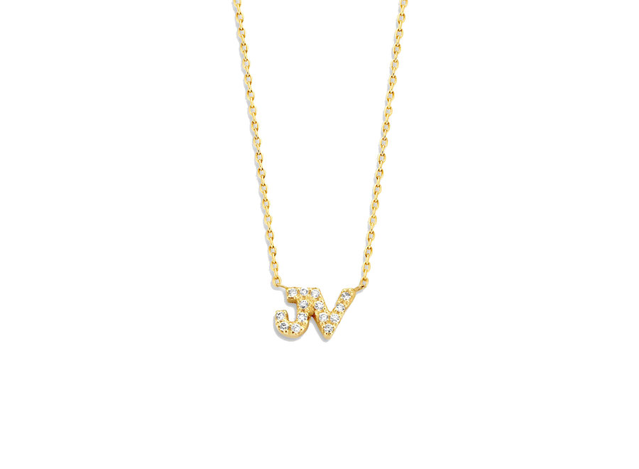 Just Diamond Necklace 2 Initials