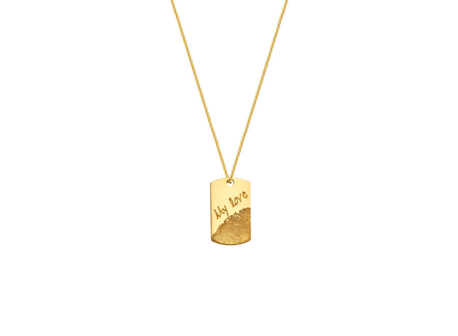 Tag Necklace 60 cm with Fingerprint & Engraving