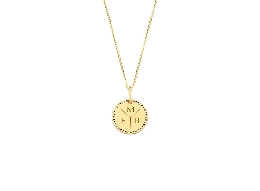 Identity Circle Small Perforated with Necklace 3 letters