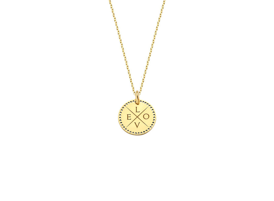 Identity Circle Small Perforated with Necklace 4 letters