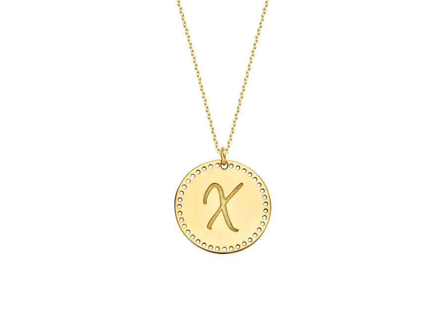 Identity Charm Circle Big Perforated with Necklace