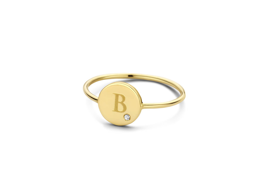 Coin Ring with Diamond