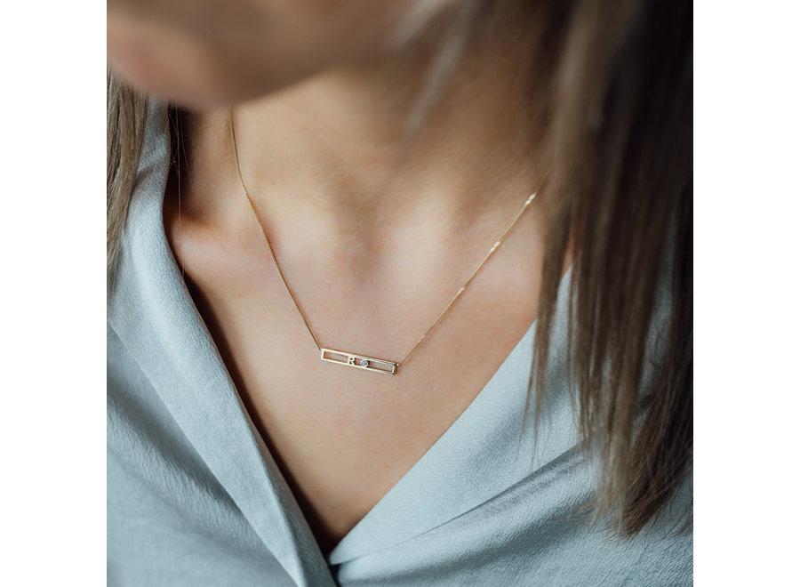Love Bar Necklace 1 Letter & 1 Diamond