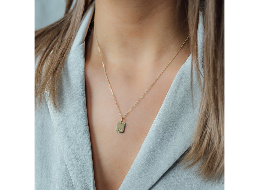 Mini Tag Necklace with Fingerprint