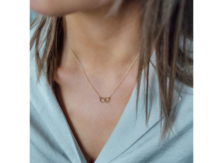 Vintage necklace clover  Double Open Heart