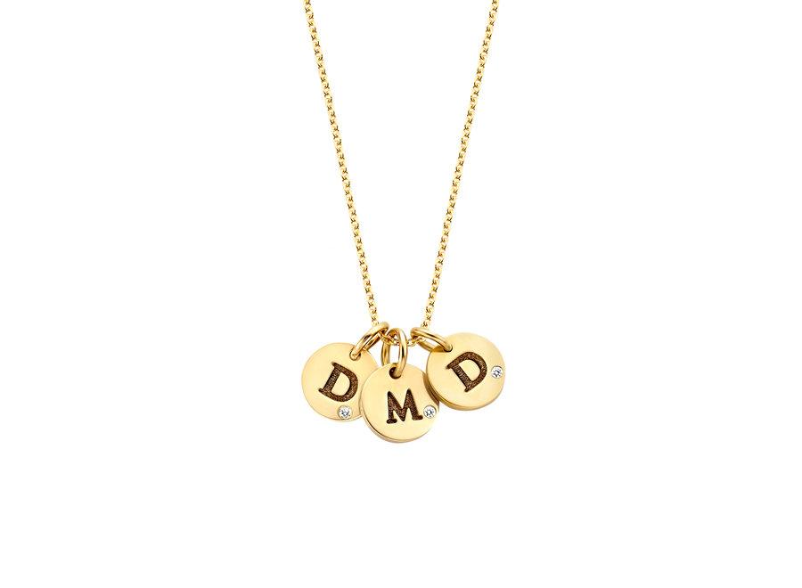 Coin Necklace Mini 3 Diamond Coins