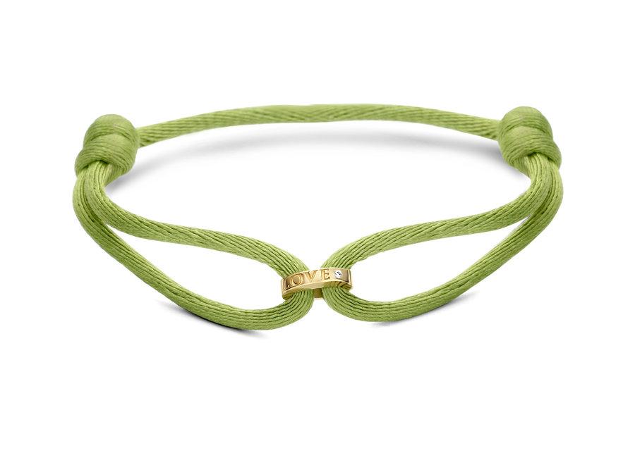 Single Open Circle Bracelet Cord with Diamond & Engraving