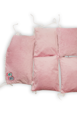 Bumpers 5 elementen - Roze / Wit met roze pompons