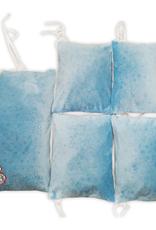 Bumpers 5 elementen - Blauw / Wit met witte pompons