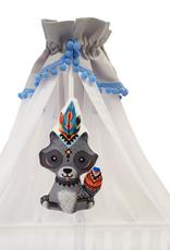 Canopy - Grijs/ Wit met blauwe pompons