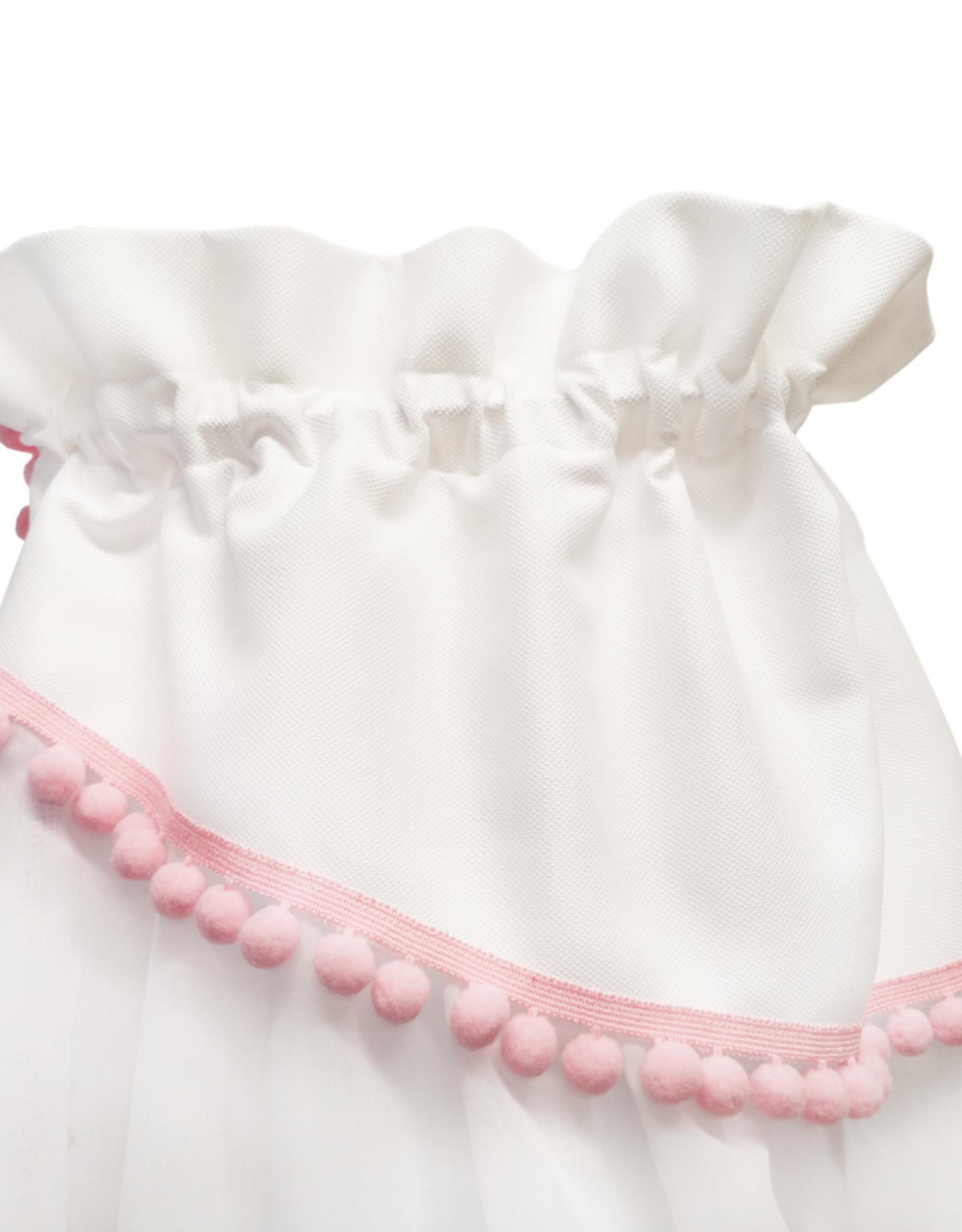 Canopy - Wit met roze pompons