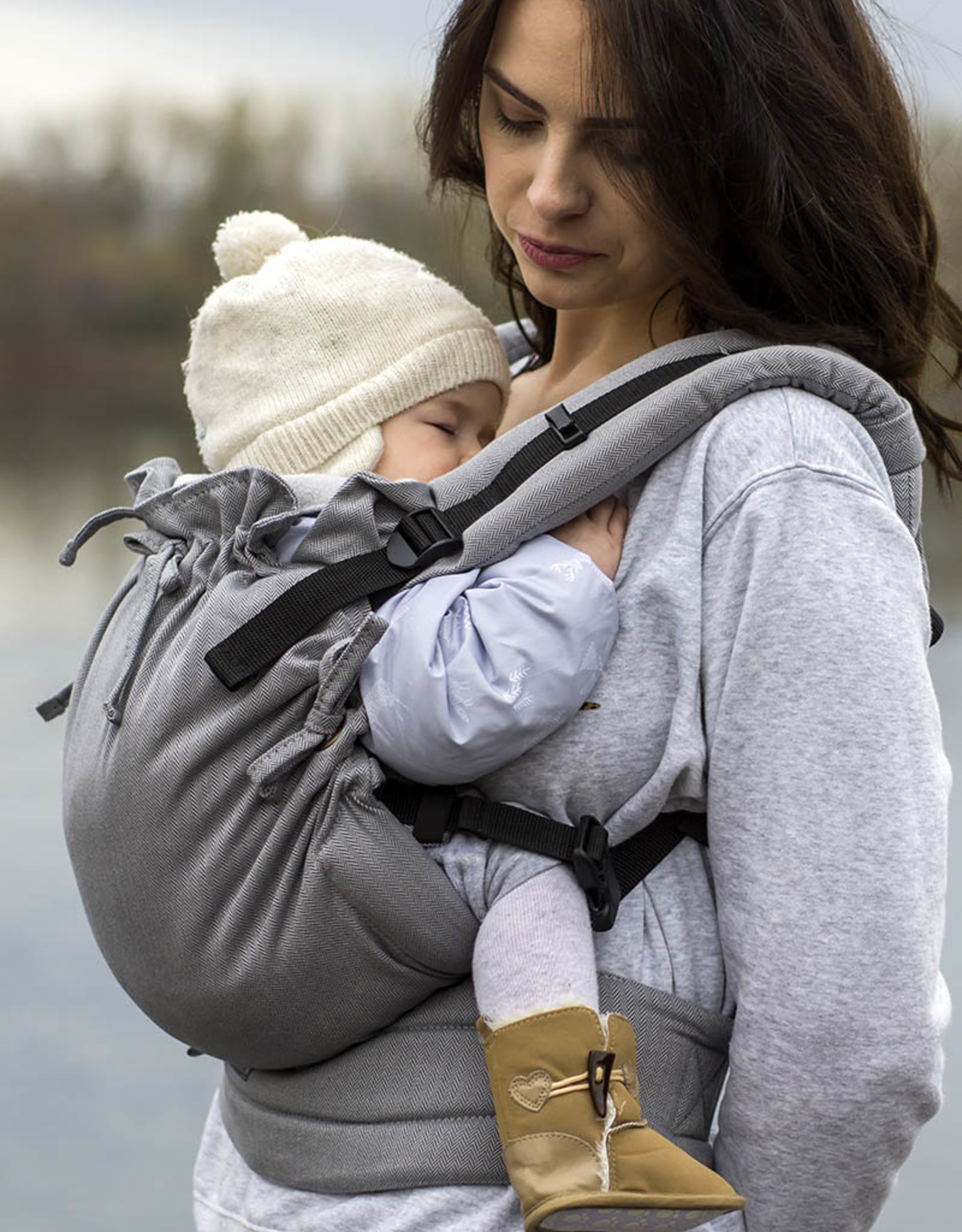 Kinderhop Baby Draagzak Multi Soft Little Herringbone Grey