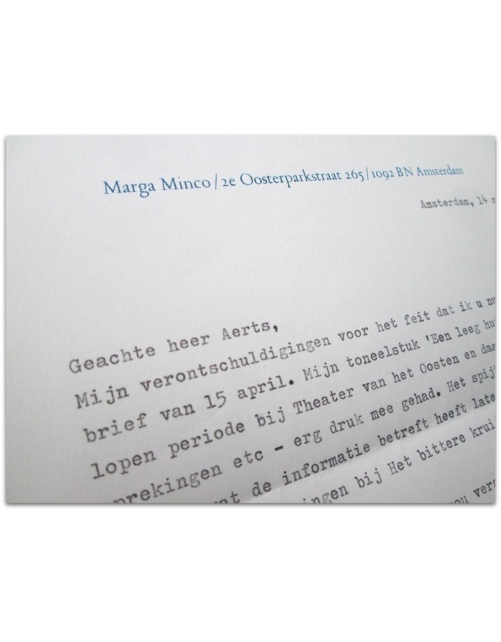 Marga Minco - Geachte heer Aerts,  [Originele brief in typoscript]