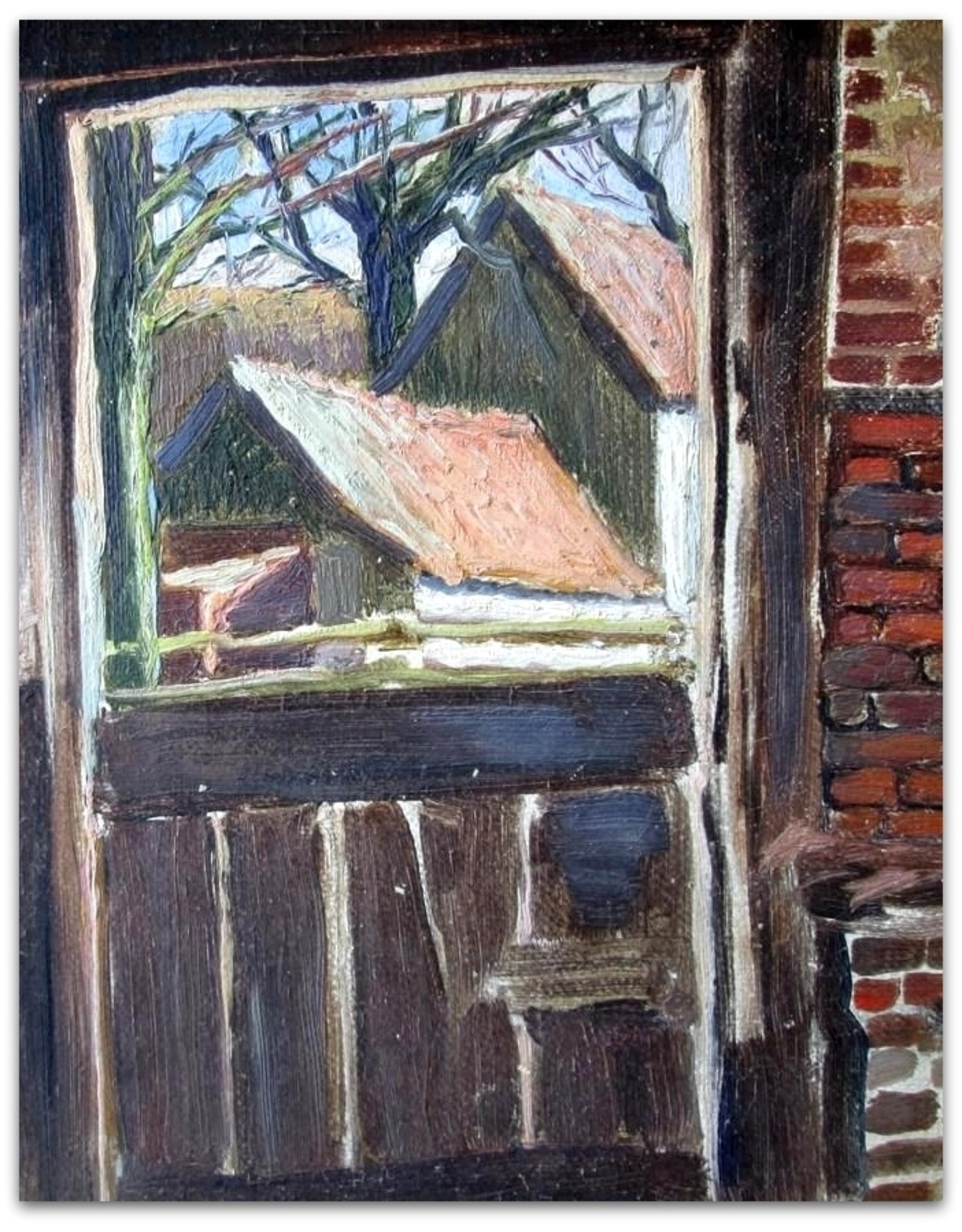 Arie van der Boon - [Gezicht op boerderij vanuit schuur]