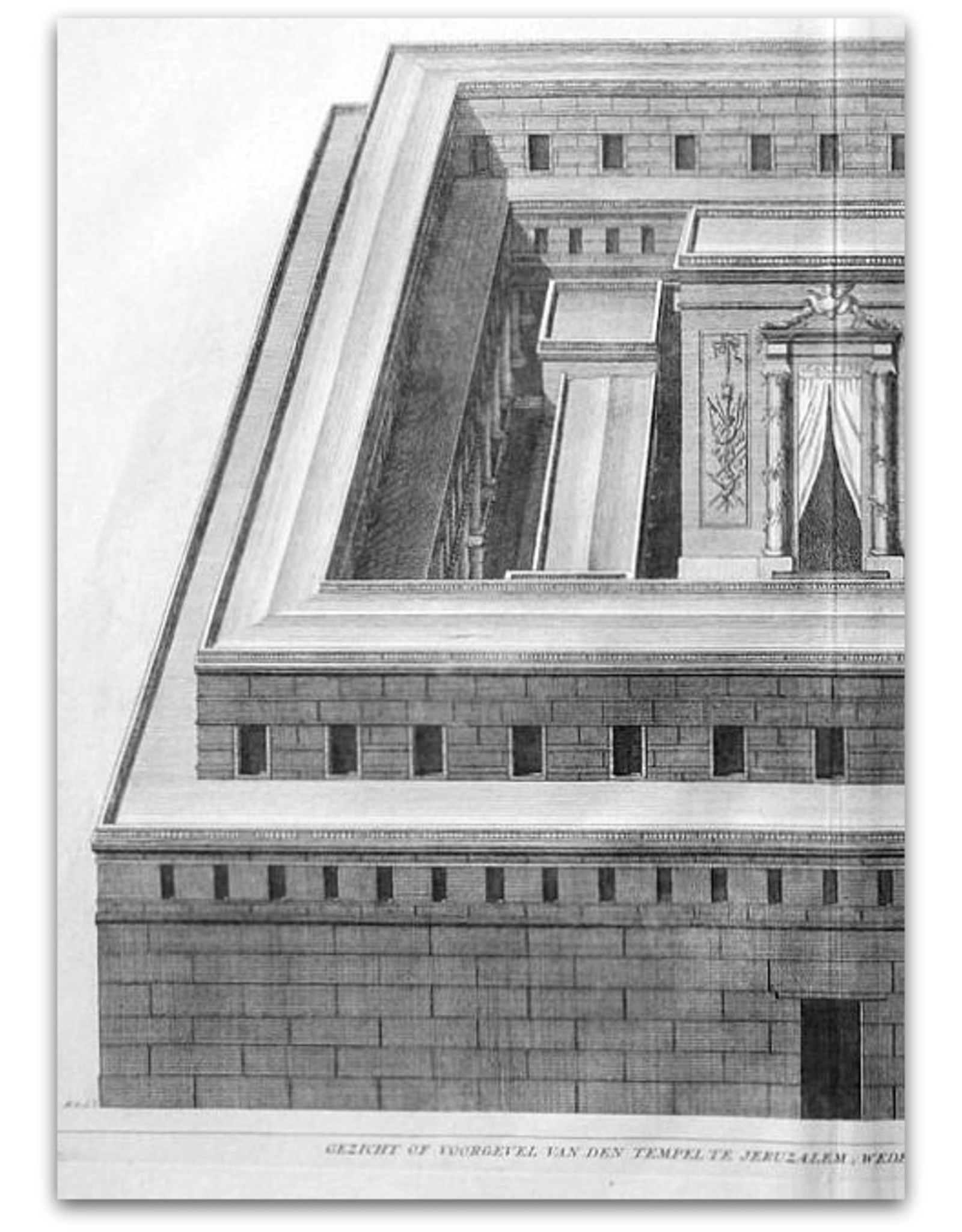 [Augustinus Calmet] - Gezicht of voorgevel van den Tempel te Jeruzalem, wederopgehaald door Herodes den Grooten