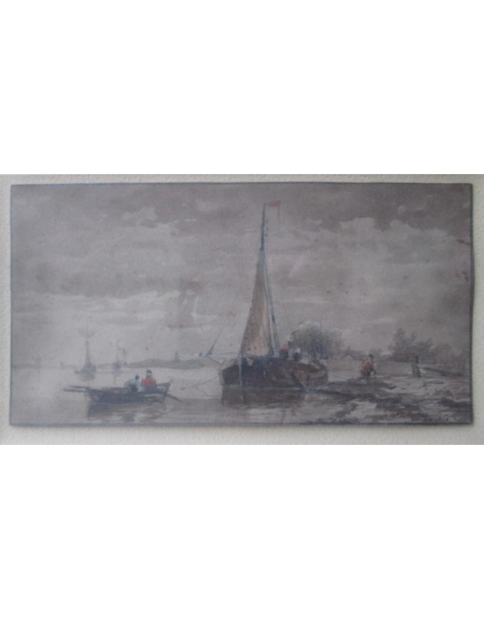 [Anonymous] - Visserstafereel [19e eeuws, pentekening / aquarel op papier]