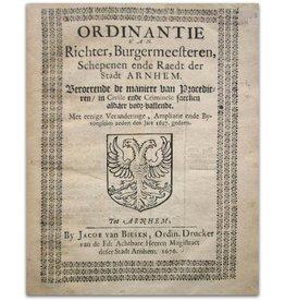 Ordinantie der Stadt Arnhem - 1676