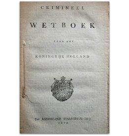 C.F. van Maanen - Crimineel Wetboek Holland - 1809