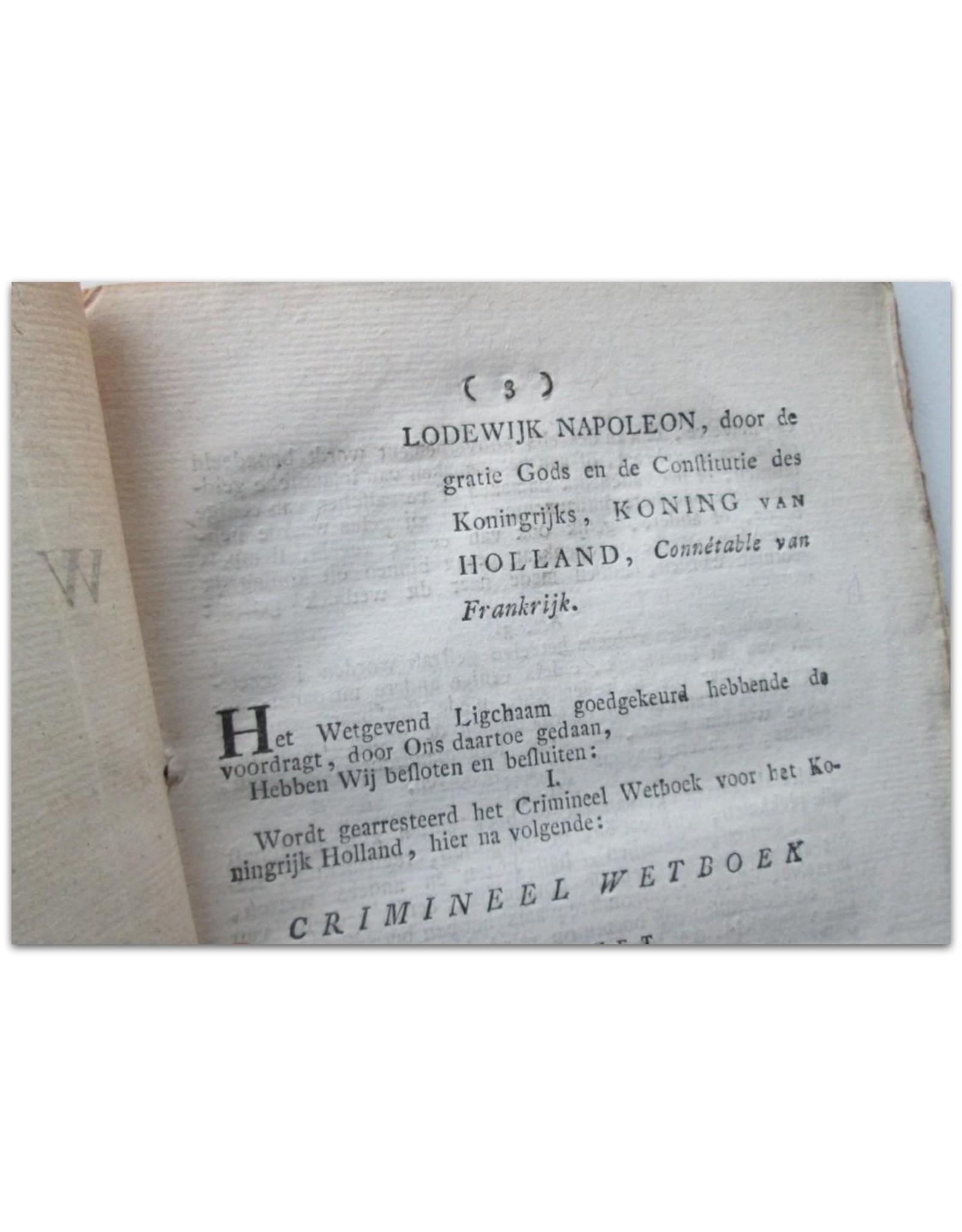C.F. van Maanen - Crimineel Wetboek voor het Koningrijk Holland