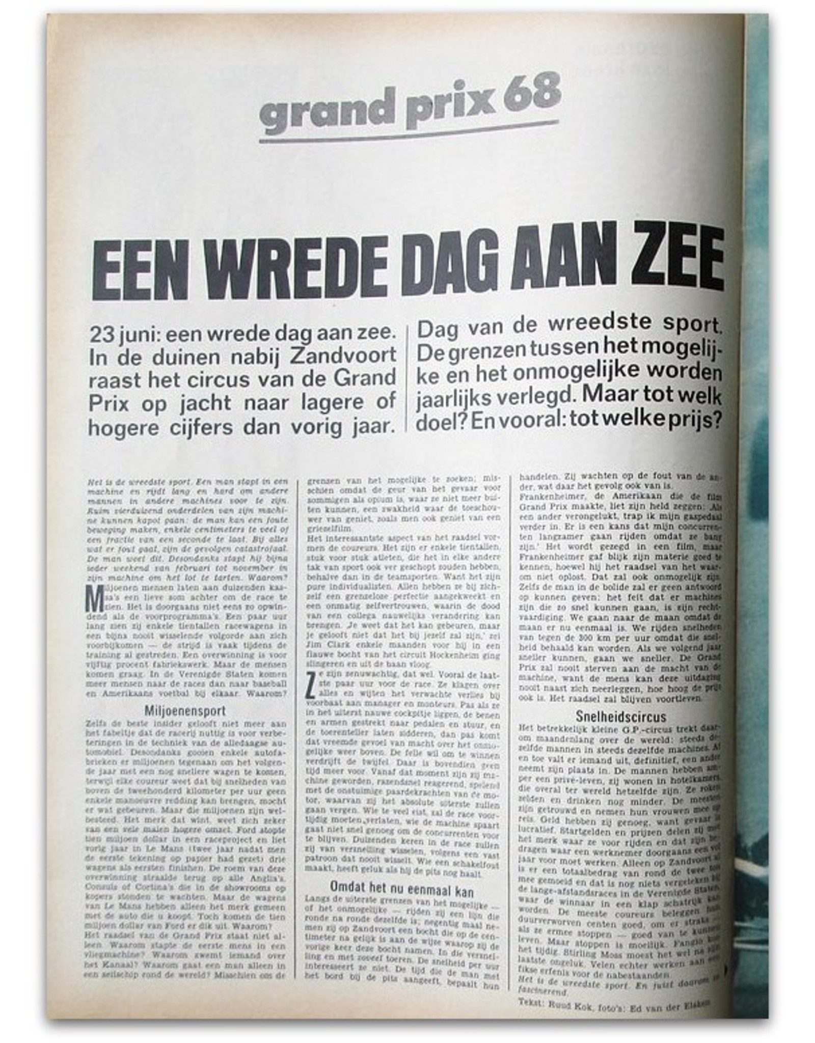 Ed van der Elsken - De Zondag van GP Zandvoort [reportage in: Revu. Weekblad Nr. 25 - Juni 1968]