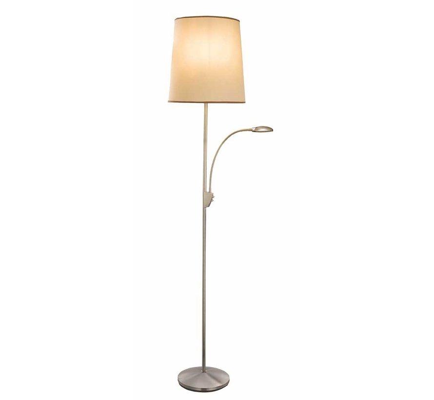 Vloerlamp Hugo - Mat Staal + Kap Ecru/Bruin