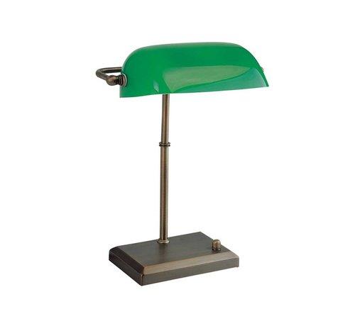Artdelight Tafellamp Bankers - Brons/Groen