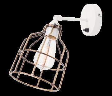 Het Lichtlab Wandlamp No.15 - Wit met Bronzen Kooi
