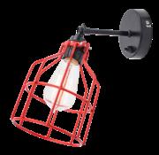 Het Lichtlab Wandlamp No.15 - Zwart met Rode Kooi