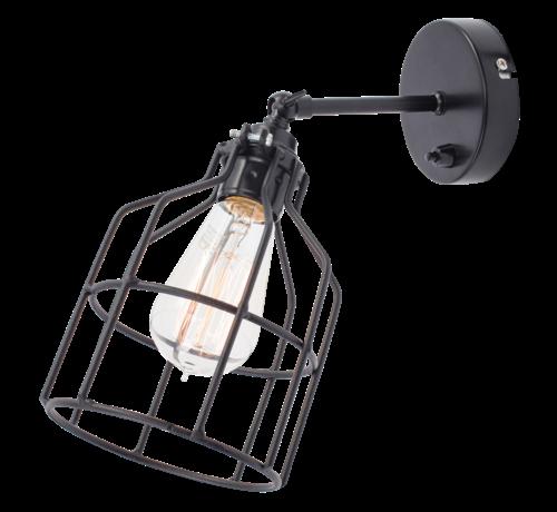 Het Lichtlab Wandlamp No.15 - Zwart met Zwarte Kooi