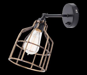 Het Lichtlab Wandlamp No.15 - Zwart met Bronzen Kooi