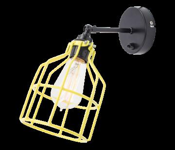 Het Lichtlab Wandlamp No.15 - Zwart met Gele Kooi