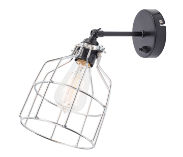 Het Lichtlab Wandlamp No.15 - Zwart met Zilveren Kooi