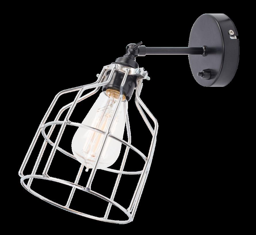 Wandlamp No.15 - Zwart met Zilveren Kooi