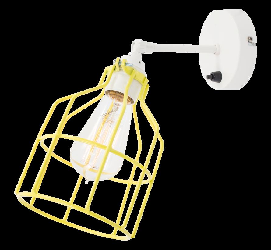 Wandlamp No.15 - Wit met Gele Kooi