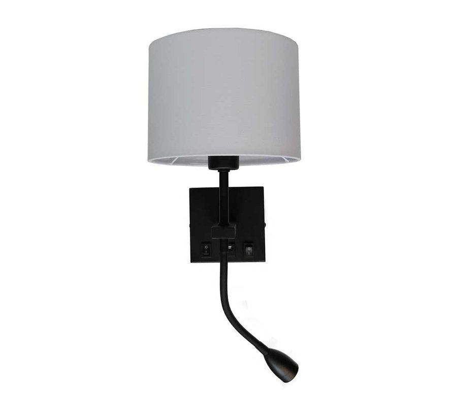 Wandlamp Quad USB - Zwart