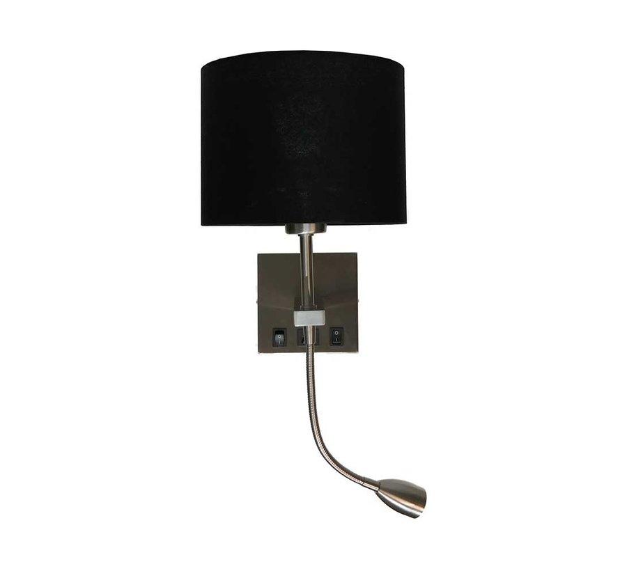Wandlamp Quad USB - Mat Staal