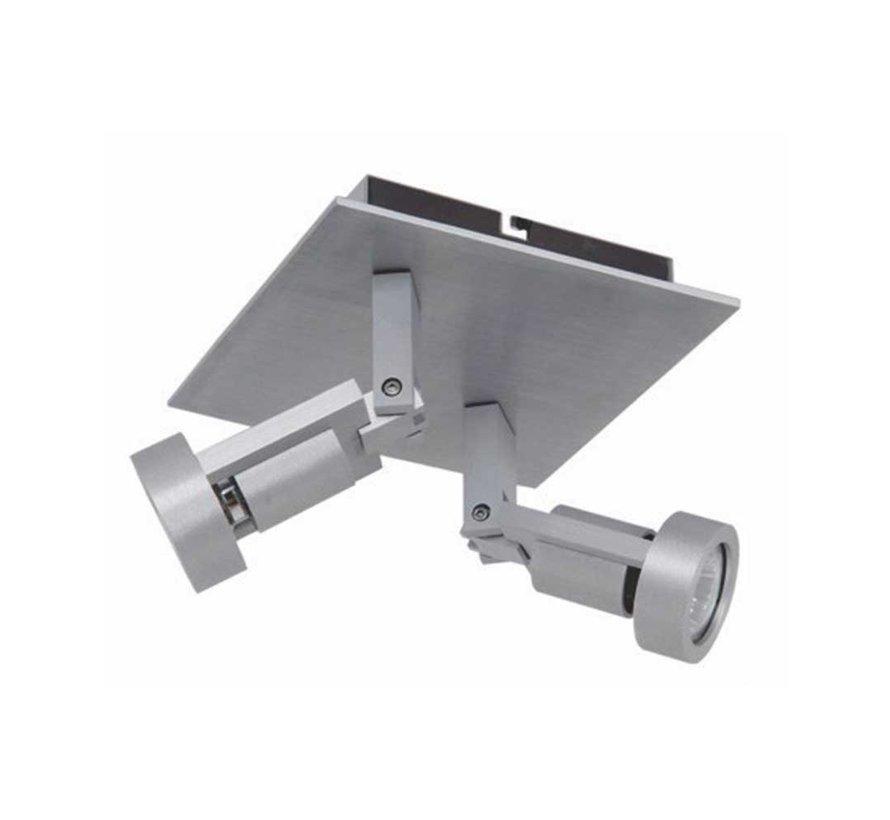 Plafondlamp Tech 2L SQ - Aluminium