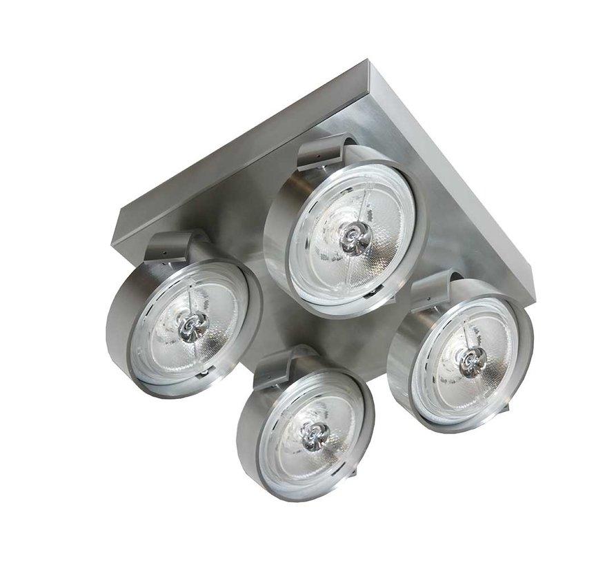 Plafondlamp Dutchess 4L SQ - Aluminium - Dim to Warm