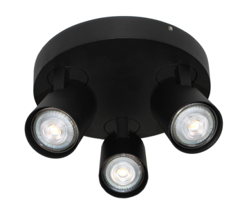 Artdelight Plafondlamp Vivaro 3L Rond - Zwart