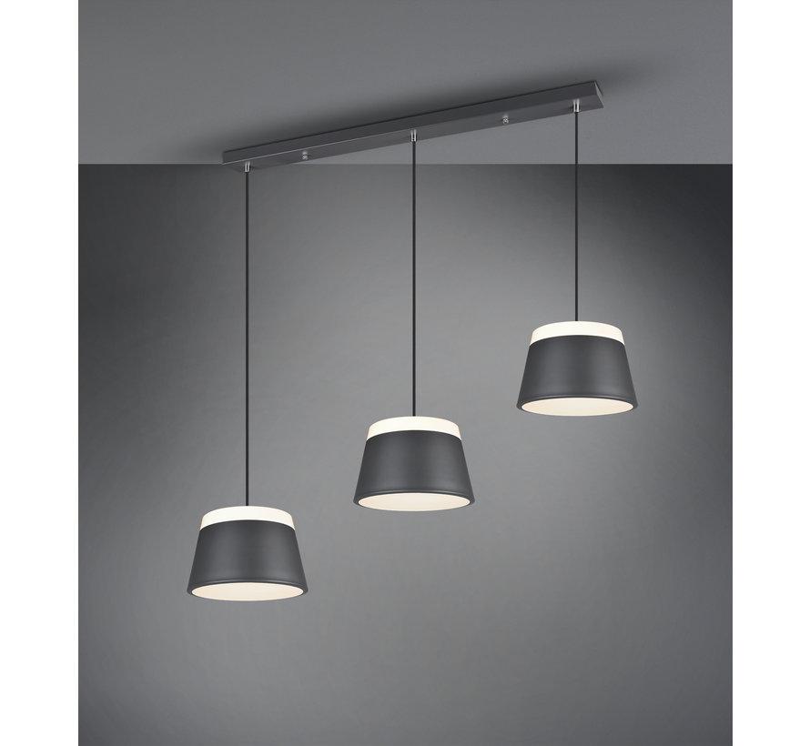 Hanglamp Baroness 3L - Antraciet/Wit